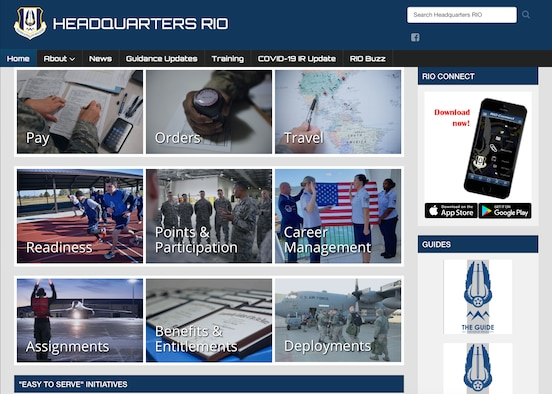 A screenshot of the new Headquarters Readiness and Integration Organization website