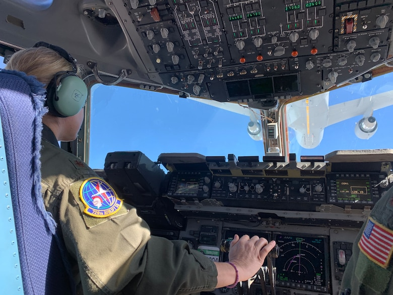 Maj. Emily Yturralde, an Air Force Reserve pilot assigned to the 728th Airlift Squadron here, receives fuel on March 11, 2021, from the newest tanker in the Air Force fleet, a KC-46 Pegasus.