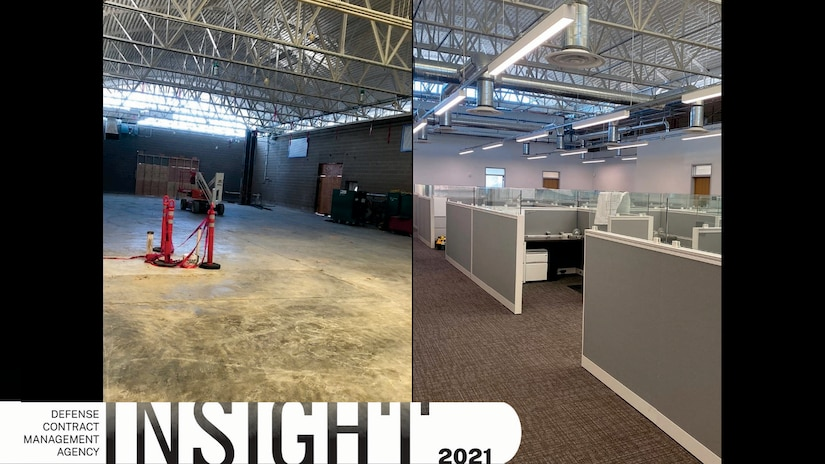 A before and after picture of a new DCMA office facility.