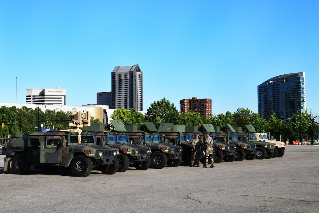 Ohio National Guard Humvees are staged in a parking lot in downtown Columbus, Ohio during ongoing protests, May 31, 2020. Gov. Mike DeWine activated the Guard to assist local law enforcement in Columbus and Cleveland with providing safety and protection to the community, while ensuring people's right to gather and demonstrate peacefully.
