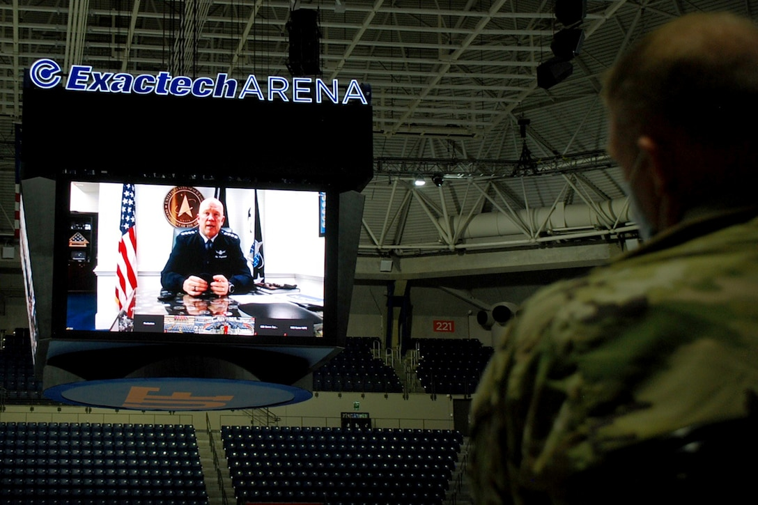 """U.S. Space Force Gen. John W. """"Jay"""" Raymond, Chief of Space Operations, virtually addresses University of Florida ROTC midshipmen and cadets from the Navy, Army and Air Force, March 23, 2021 at the University of Florida campus in Gainesville, Florida."""