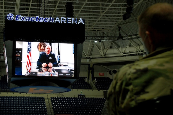 "U.S. Space Force Gen. John W. ""Jay"" Raymond, Chief of Space Operations, virtually addresses University of Florida ROTC midshipmen and cadets from the Navy, Army and Air Force, March 23, 2021 at the University of Florida campus in Gainesville, Florida."