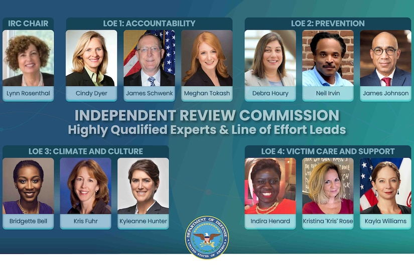 A graphic shows the 13 faces of individuals of the independent review commission.
