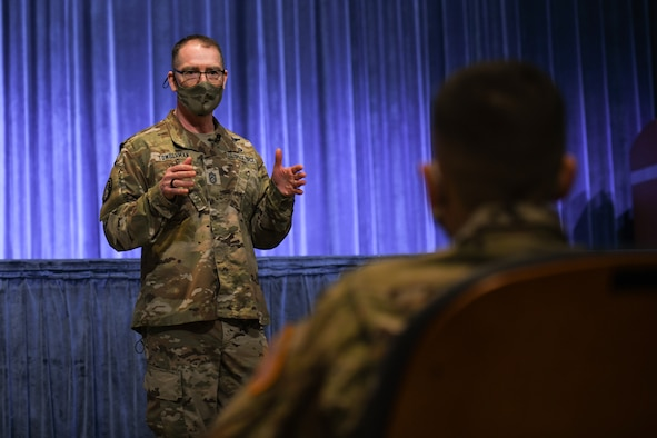 Chief Master Sgt. of the Space Force Roger A. Towberman speaks with Space Force personnel March 23, 2021, on Maxwell Air Force Base, Alabama. Towberman conducted an all-call with Space Force personnel currently stationed at Maxwell in order to update them on what he's been working on as well as answer any questions they had.