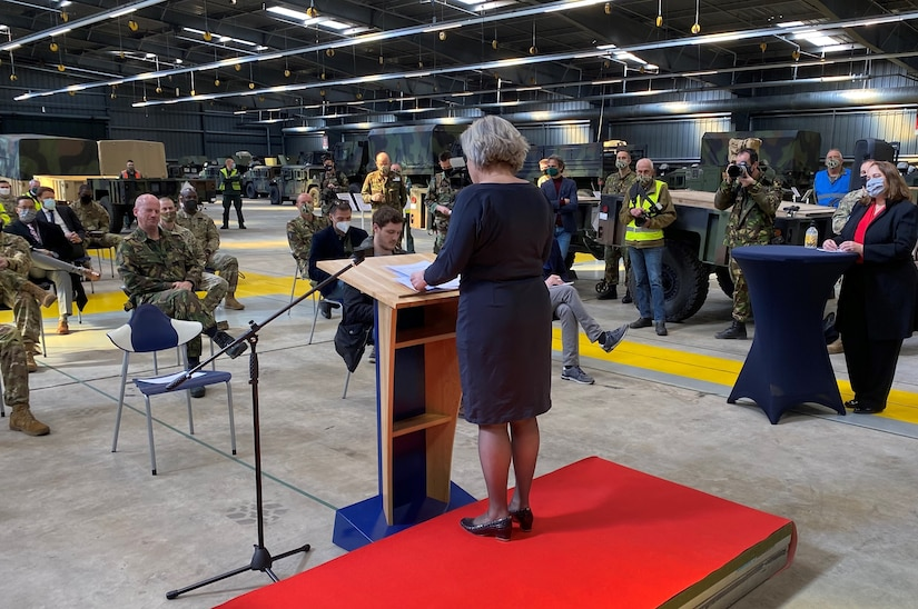 The Netherlands Minister of Defense Ank Bijleveld announced March 24 during a press conference at the Army Prepositioned Stock-2 Eygelshoven site that the Dutch government has agreed to provide 38 million euros toward facility upgrades and new construction at the U.S. Army's APS-2 site in the Netherlands.