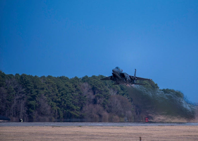 An F-15E Strike Eagle assigned to the 333rd Fighter takes off at Seymour Johnson Air Force Base, North Carolina, March 11, 2021.