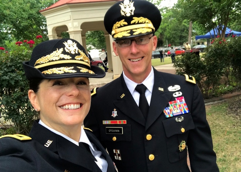 Army Reserve Brig. Gen. Cheryn L. Fasano grins for her selfie with Maj. Gen. Michael C. O'Guinn, after Fasano's 2018 promotion to her current rank.