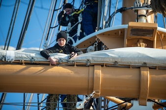 Sailors assigned to USS Constitution train aboard the U.S. Coast Guard barque USCGS Eagle (WJX 327).