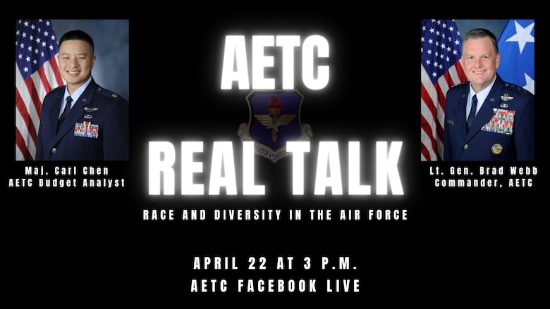 Graphic publicizing next AETC Real Talk April 22 at 3 p.m. on AETC's Facebook page.