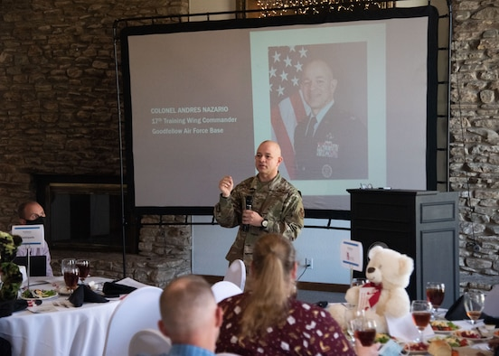 U.S. Air Force Col. Nazario, 17th Training Wing Commander, speaks at the monthly Chamber of Commerce update luncheon, held at the Bentwood Country Club, in San Angelo, Texas, March 23, 2021. At the luncheon, Nazario expressed his thanks for the support the San Angelo community has provided over the years. (U.S. Air Force photo by Staff Sgt. Tyrell Hall)