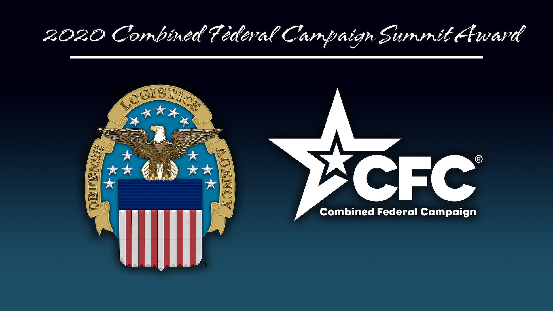 CFC logo with white stars and the DLA logo with an eagle, stars and stripes and the text: 2020 Combined Federal Campaign Summit Award
