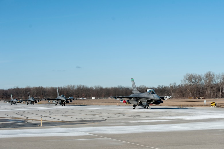 U.S. Air Force F-16 Fighting Falcons, assigned to the Ohio National Guard's 180th Fighter Wing, return home from a three-month Aerospace Expeditionary Force deployment to Bagram Air Base, Afghanistan, Jan. 23, 2021.