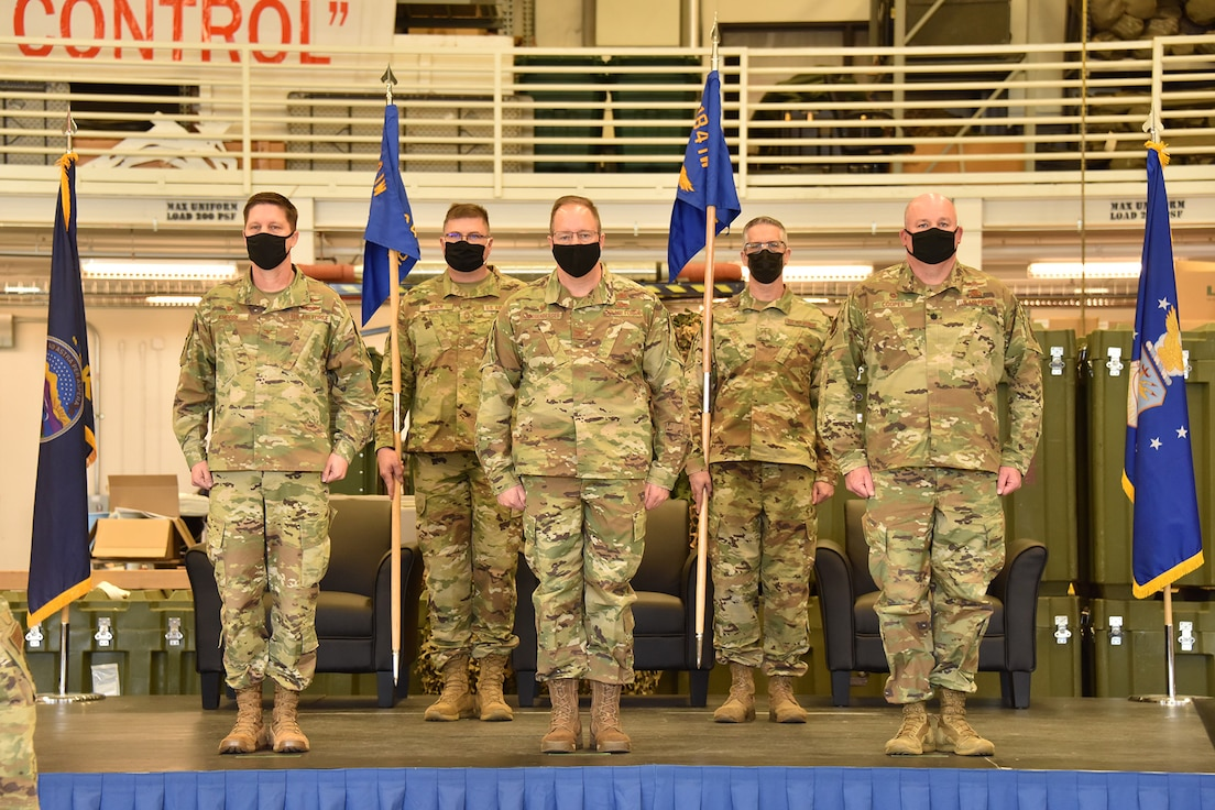 184th Mission Support Group and 184th Regional Support Group changes of command ceremony at McConnell Air Force Base, Kansas, March 6, 2021.