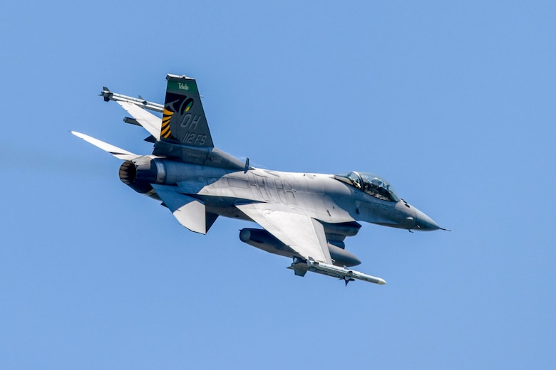 An F-16 Fighting Falcon, assigned to the Ohio National Guard's 180th Fighter Wing, takes off during a training flight at the 180FW in Swanton, Ohio, June 30, 2020.