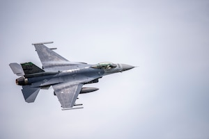 U.S. Air Force Capt. William Ross, an F-16 Fighter Pilot assigned to the Ohio National Guard's 180th Fighter Wing, takes off in an F-16 Fighting Falcon during a training flight at the 180FW in Swanton, Ohio, July 30, 2020.