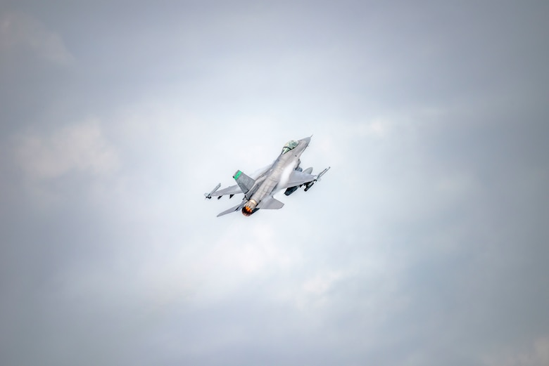 U.S. Air Force Lt. Col. Garrick Webb, an F-16 Fighter Pilot assigned to the Ohio National Guard's 180th Fighter Wing, takes off in an F-16 Fighting Falcon during a training flight at the 180FW in Swanton, Ohio, July 30, 2020.