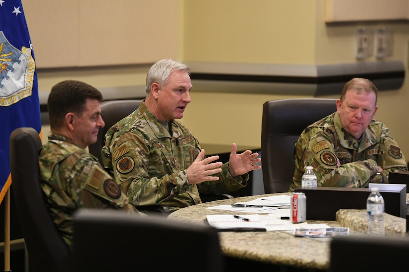 From left, Lt. Gen. Michael Loh, Air National Guard director, Lt. Gen. Timothy Fay, Air Force Director of Staff, and Lt. Gen. Richard Scobee, Air Force Reserve chief, discuss Total Force Integration goals during the virtual TFI Symposium at the Jacob Smart Conference Center on Joint Base Andrews, Md., March 23, 2021.