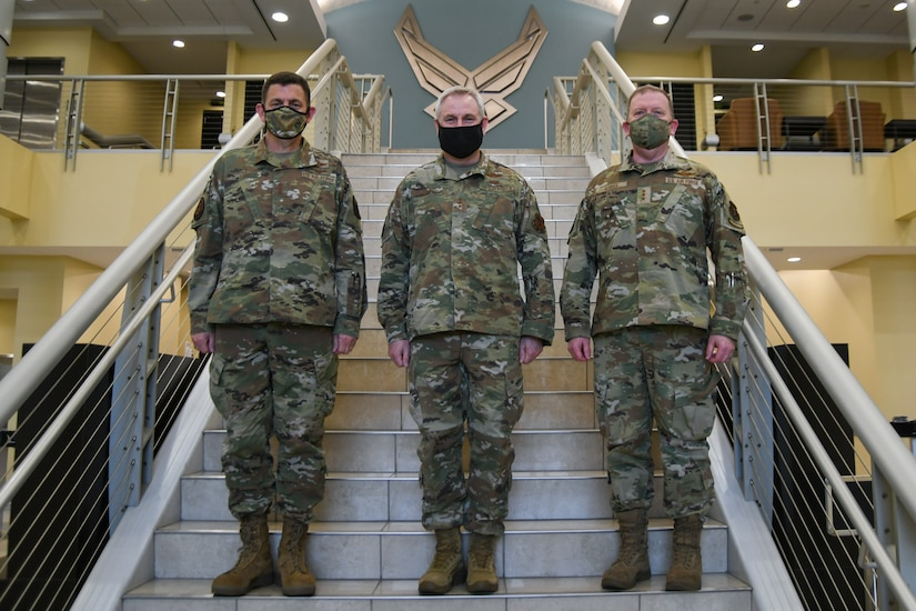 From left, Lt. Gen. Michael Loh, Air National Guard director, Lt. Gen. Timothy Fay, Air Force Director of Staff, and Lt. Gen. Richard Scobee, Air Force Reserve chief, pose for a photo at the Jacob Smart Conference Center on Joint Base Andrews, Md., March 23, 2021.