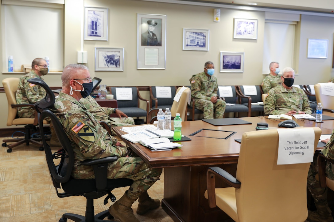 Commanding General of the U.S. Army Civil Affairs and Psychological Operations Command (Airborne), Brig. Gen. Jeffrey C. Coggin, receives the command's Fiscal Year 2022 Training Brief (YTB) from command teams of USACAPOC(A) subordinate units, March 23 - 26 2021. The FY22 YTB is an annual event hosted by USACAPOC(A) for commanders to brief training concepts, philosophies and challenges during the socially distant, protective measured YTB at the USACAPOC(A) headquarters at Ft. Bragg, N.C.