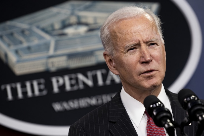 President Joe Biden speaks at the Pentagon.