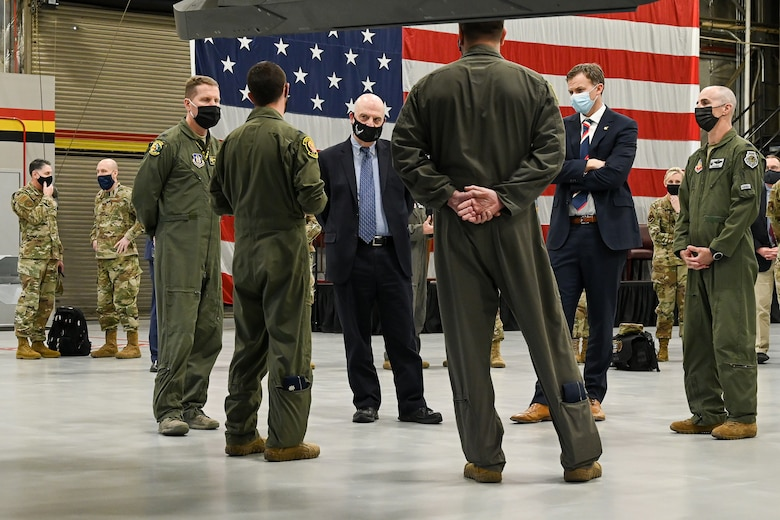 cting Secretary of the Air Force John Roth (left center) and U.S. Rep. Blake Moore (right center), R-Utah, are briefed by 388th Fighter Wing and Reserve 419th Fighter Wing leadership.