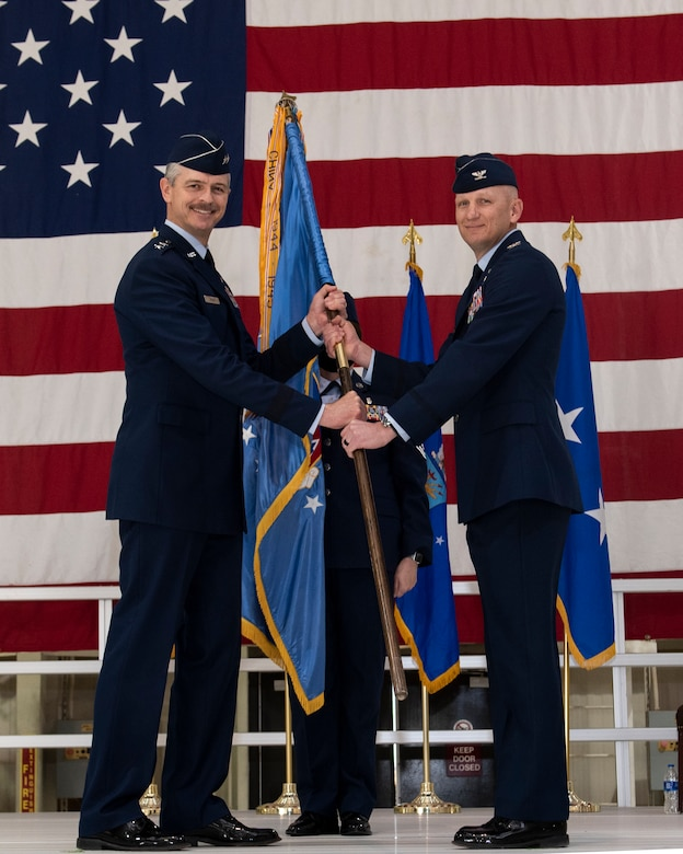 Col. Jay Johnson assumed command of the 71st Flying Training Wing Mar. 25 at Hangar 199 at Vance Air Force Base, Oklahoma. Johnson takes the reigns of the wing after two years as the wing's vice commander. (U.S. Air Force photo by Sarah Bailey)