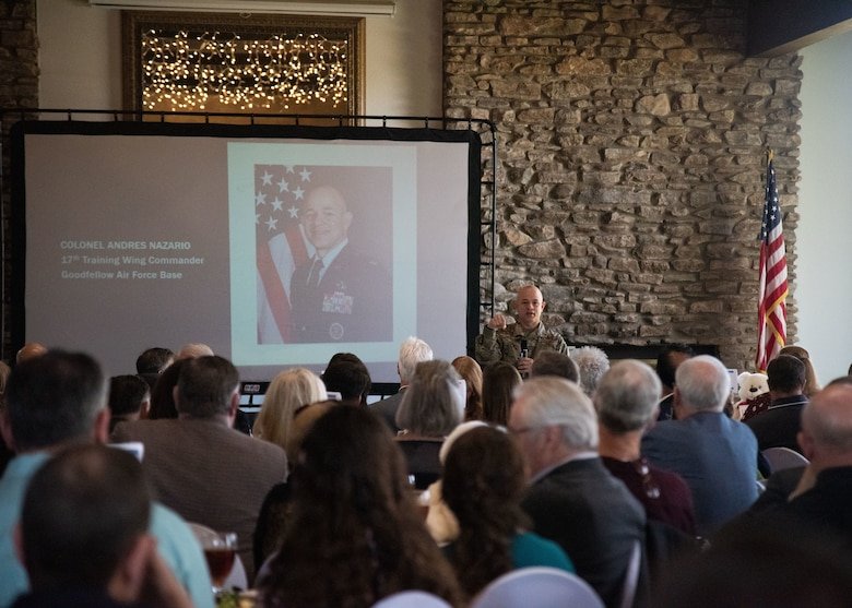 U.S. Air Force Col. Nazario, 17th Training Wing Commander, speaks at the monthly Chamber of Commerce update luncheon, held at the Bentwood Country Club, in San Angelo, Texas, March 23, 2021. During his address, Nazario talked about Goodfellow's dedication to community relationships and partnerships. (U.S. Air Force photo by Staff Sgt. Tyrell Hall)