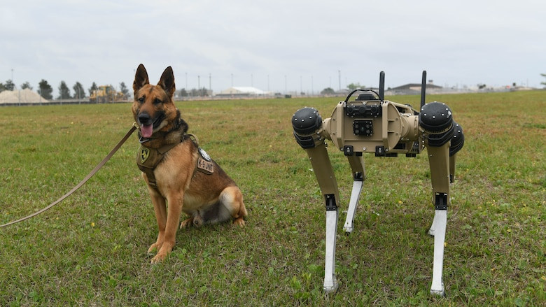 A robot and a military working dog pose.