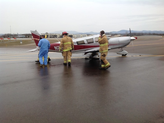 The Vermont National Guard''s 158th Fire Department responded to a civilian aircraft fire on a runway of Burlington International Airport the evening of March 24, 2021. The pilot and family evacuated before Guard members arrived and extinguished the flames.