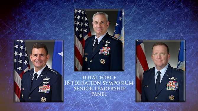 Graphic image showing Lt. Gen. Richard Scobee, chief of the Air Force Reserve and commander of Air Force Reserve Command, joined the director of the Air National Guard and the Air Force director of staff to accompany Total Force Integration Symposium senior leader panel article.
