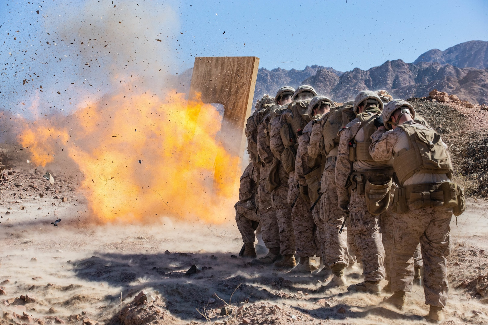 U.S. Marines breach a door during a demolition range in Jordan, March 6.