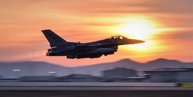 An 8th Fighter Wing F-16 Fighting Falcon takes off during a routine training event at Kunsan Air Base, Republic of Korea, March 24, 2021. The F-16 Fighting Falcon is a compact, multi-role fighter aircraft that is highly maneuverable in air-to-air combat and air-to-surface attack. It can reach top speeds of 1,500 mph and can reach altitudes of more than 50,000 feet. (U.S. Air Force photo by Tech. Sgt. Kristin S. High)