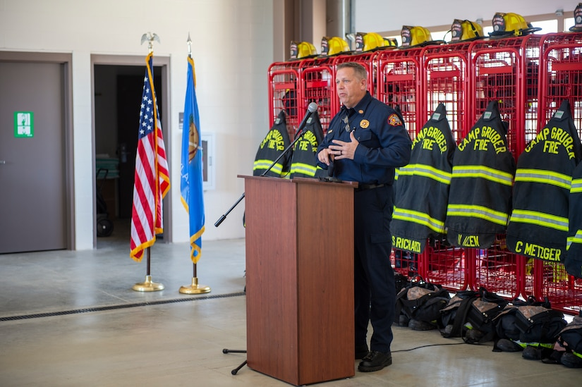 Lee Horst, Jr., fire chief for Camp Gruber Training Center, speaks during a ribbon cutting ceremony for the newly opened Fire Station Number 1 on Camp Gruber, Oklahoma, March 24, 2021. (Oklahoma National Guard photo by Anthony Jones)
