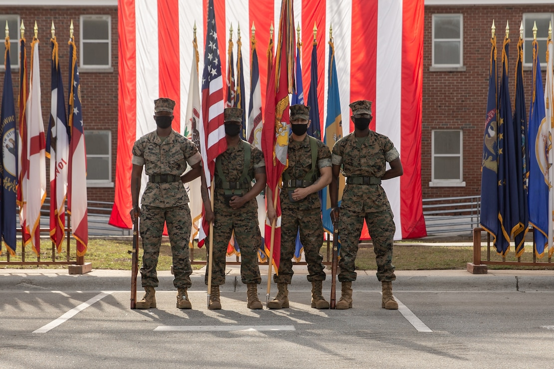 U.S. Marines with 2d Transportation Support Battalion, 2d Marine Logistics Group, participate in a deactivation ceremony for Alpha Company, 2d Tank Battalion, 2d Marine Division on Camp Lejeune, N.C., March 25, 2021. Alpha Co. served 2d MARDIV for nearly 80 years and participated in numerous conflicts and operations throughout that period. The deactivation is in accordance with the force-wide modernization efforts that will make the USMC more competitive to fight a peer or near-peer threat (U.S. Marine Corps photo by Lance Cpl. Jennifer E. Reyes)