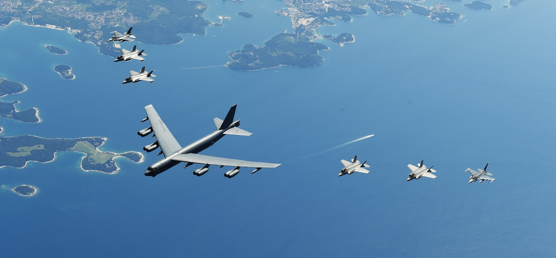 U.S. and Italian Air Forces aircraft consisting of F-35 Lightning IIs, F-16 Fighting Falcons, and a B-52 Stratofortress, fly in formation over the Adriatic Sea during Astral Knight 19, June 4, 2019. Astral Knight is an exercise taking place throughout various locations in Europe, involving over 900 Airmen and supports the collective defense and security of NATO allies and U.S. forces in Europe. (U.S. Air Force photo by Staff Sgt. Joshua R. M. Dewberry)