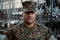 """Lance Cpl. Sebastian Alfonsoarango, a food service specialist with 3rd Battalion, 2d Marine Regiment, 2d Marine Division, poses for a photo on Camp Lejeune, N.C., March 24, 2021. """"Always lead by example and do not just follow a path, create your own path,"""" said Alfonsoarango, a Newark, Del., native. According to his leadership, Alfonsoarango """"always wants to learn and expand his knowledge not only in his job, but in the whole Marine concept. He takes an incredible amount of initiative to accomplish all tasks and always wants to do more.""""  (U.S. Marine Corps photo by Lance Cpl. Jacqueline Parsons)"""