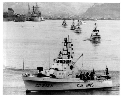 The 82-foot patrol boats of Squadron One (RONONE) deploying from Subic Bay in the Philippines to the theater of operations in Vietnam. (U.S. Coast Guard)