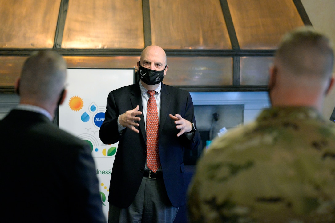 Acting Secretary of the Air Force John Roth speaks with 88th Air Base Wing personnel at Wright-Patterson Air Force Base, Ohio, March 23, 2021.  Roth met with Air Force personnel and toured several facilities at the base including the U.S. Air Force School of Aerospace Medicine Epidemiology Laboratory, which is responsible for analyzing a majority of the COVID-19 tests in the Air Force. (U.S. Air Force photo by Ty Greenlees)