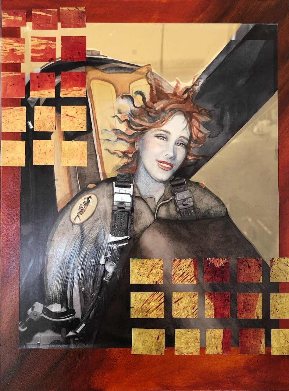 A small grid is superimposed over a painting of a pilot.