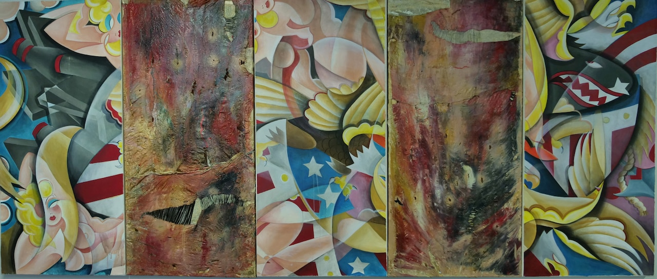 A five-panel painting with a lot of colors and themes.
