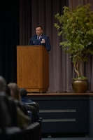 Col. Jeffrey Welborn, 14th Mission Support Group commander, speaks to the graduating class 21-07 at their graduation ceremony, March 26, 2021, on Columbus Air Force Base, Miss. Welborn assists and provides military advice to the 14th Flying Training Wing commander on the development and implementation of goals, plans, policies and procedures to accomplish all wing support activities. (U.S. Air Force photo by Senior Airman Jake Jacobsen)