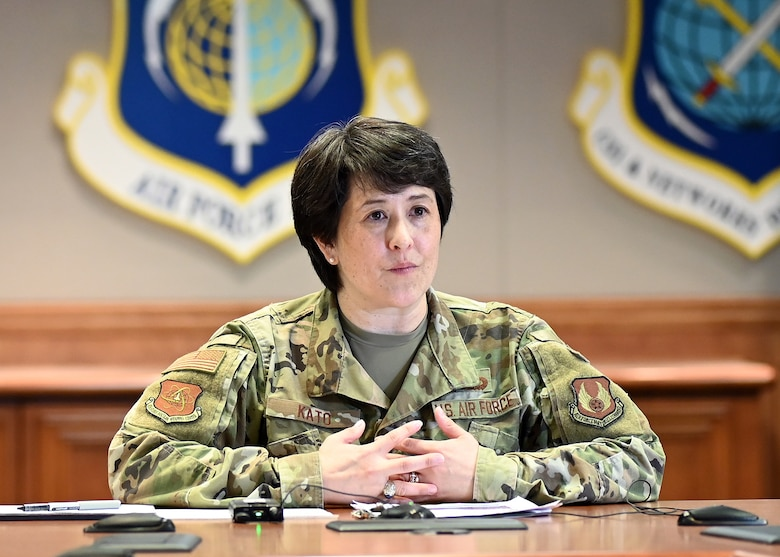 """Col. Amanda Kato, AF PEO, Nuclear Command, Control and Communications, headquartered here, addresses defense and industry leaders during the AFCEA Lexington-Concord Chapter's New Horizons 2021 March 23. The theme of virtual five-day event was """"Accelerating Change -- Strengthening Partnerships --Securing the Future."""""""