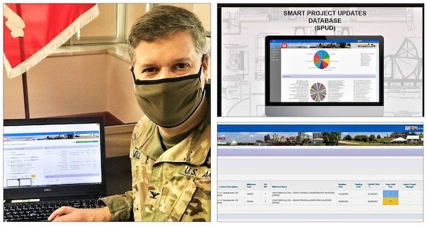 In the photo to the left, Memphis District Commander Col. Zachary Miller signs the first SPOT Report using the new Smart Project Updates Dashboard. To the right are screenshots of the Smart Project Updates Dashboard, also known as SPUD.