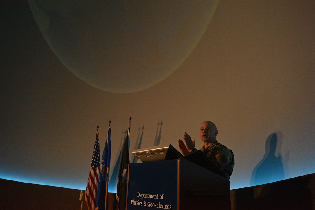 U.S. Air Force Col. Andres Nazario, 17th Training Wing commander, addresses the audience at Angelo State University's Planetarium in San Angelo, Texas, March 26, 2021. Angelo State University hosted a ceremony for Goodfellow members transferring their service from the United States Air Force to the United States Space Force at their planetarium in San Angelo, Texas, March 26.  (U.S. Air Force photo by Senior Airman Ashley Thrash)