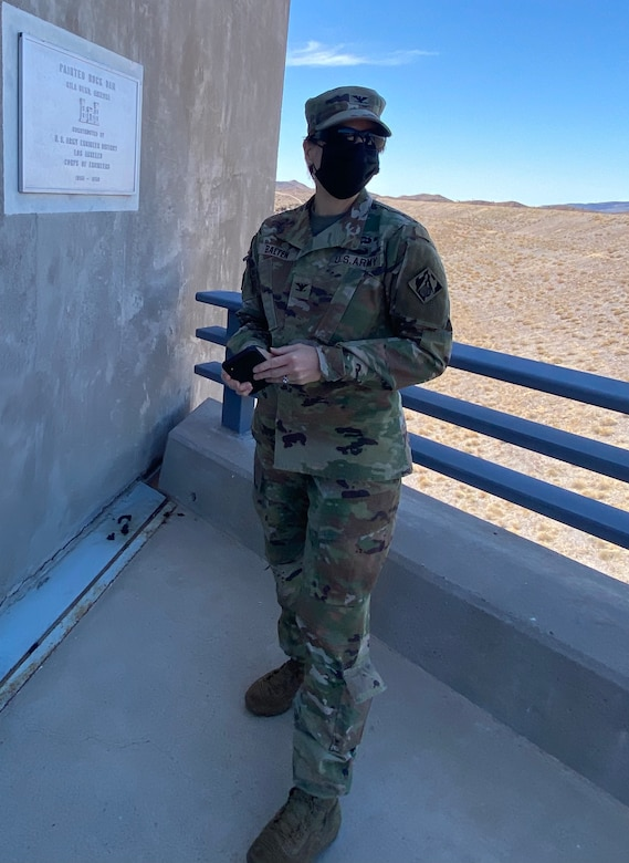 Col. Julie Balten, U.S. Army Corps of Engineers Los Angeles District commander, enters the Painted Rock Dam control house March 24 near Gila Bend, Arizona.