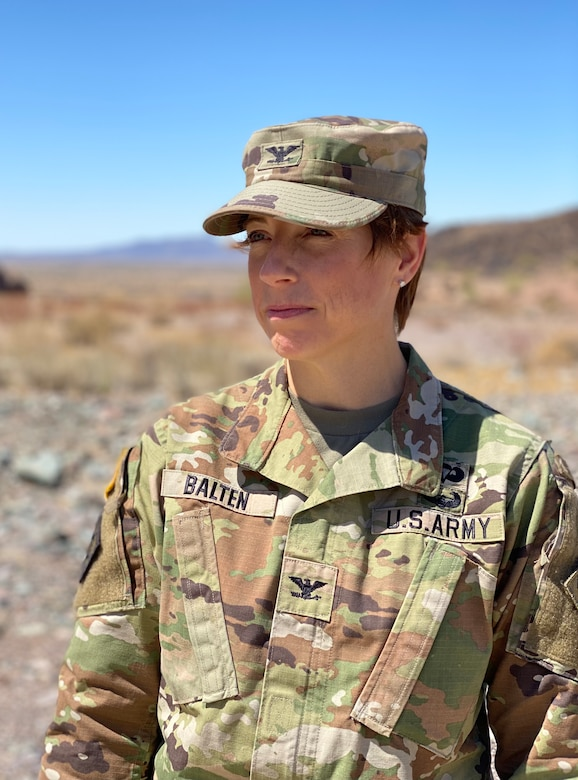Col. Julie Balten, U.S. Army Corps of Engineers Los Angeles District commander, visits the Painted Rock Dam spillway March 24 near Gila Bend, Arizona. Balten leads 746 military and civilian personnel operating in a 226,000-square-mile area of California, Arizona, Nevada and Utah.