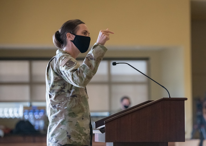 U.S. Air Force Col. Heather Blackwell, 81st Training Wing commander, speaks during the 2021 Mississippi Veteran Affairs Military Women's Summit in the Bay Breeze Event Center at Keesler Air Force Base, Mississippi, March 25, 2021. The summit focused on the goal of supporting a diverse and inclusive force catered to veterans, retirees, reservists, active duty and national guard members. (U.S. Air Force photo by Andre' Askew)