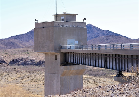 The north view of the Painted Rock Dam can be seen in this March 24 picture near Gila Bend, Arizona. Painted Rock Dam is a major flood control project in the Gila River Drainage Basin, constructed and operated by the U. S. Army Corps of Engineers Los Angeles District.