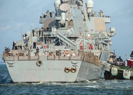 The guided-missile destroyer USS Arleigh Burke (DDG 51) departs Naval Station Norfolk, March 26.