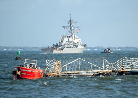 The guided-missile destroyer USS Arleigh Burke (DDG 51) departs Naval Station Norfolk Mar. 26.